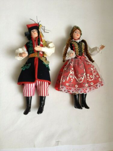 Polish Art Handcrafted Collectors Dolls in Native Dress - Vintage