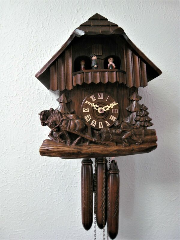German Hand Carved 1 Day Cuckoo Clock Gueissaz Jaccard Swiss Movements 1960