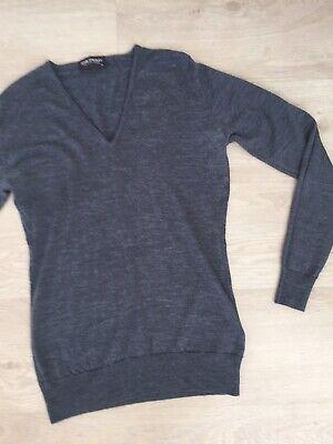 John Smedley Small  Medium Grey Jumper.100% Merino Wool.V Neck.