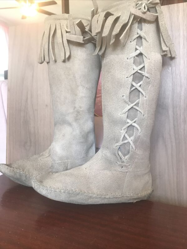 Authentic Handmade Suede Leather Moccasin Fringe Mid Calf Boots women
