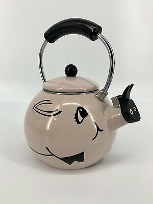 Vintage Kamenstein Pink Enamel Pig Tea Pot Tea Kettle