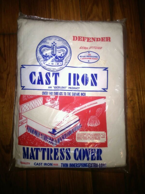 """VINTAGE DEFENDER EXTRA STITCHED """"CAST IRON"""" TWIN MATTRESS COVER ~ NOS NEW SEALED"""