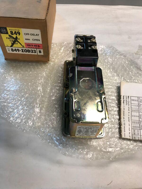 Allen Bradley 849-ZOD33 Series B Pneumatic Timing Relay 120V