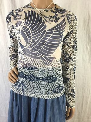 New York & Company Blue & Off White Floral With Bird & Clouds Women's Size S
