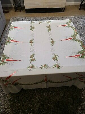 VINTAGE TABLECLOTH 56x72 CHRISTMAS COTTON CANDLES and HOLLY Cheap Shipping