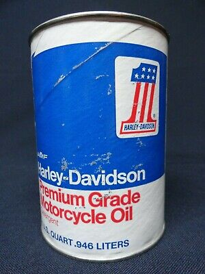 Vntg Harley Davidson Quart Oil Can Red White Blue No 1 Full & Unopened Condition