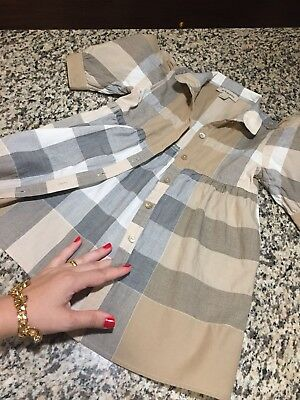 "2T Years Authentic Burberry Girls' Dress ""Washed"" Nova Check Children Toddler"