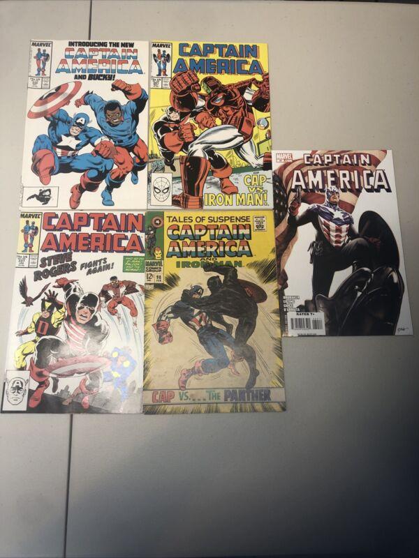 CAPTAIN AMERICA #34,#98,#337,#334,#341. Comic Lot John Walker Falcon Winter Sold