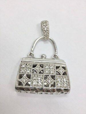 Diamond Accent 3D Purse Pendant for Necklace 14k White Gold 585 Fashion FMGE