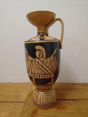 Handbemalt Schwarz Braun Terra Cotta Keramik Likör Flasche Karaffe Griff - Braun Schwarz Karaffe