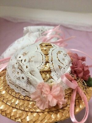 Vintage Doll Dressy Straw Hat Bonnet Pink Flowers White Lace Ginney