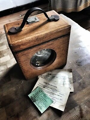 Vintage, Antique Imperator Toulet Timing Clock Racing Pigeon + Wooden Case