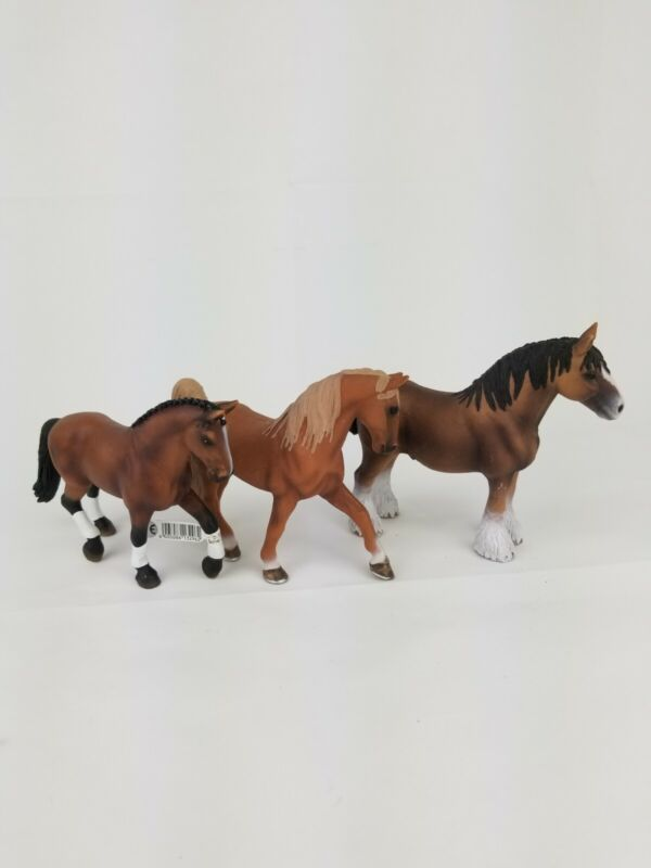 Schleich Palomino Hanorarian Clydedale Horses Lot of 3