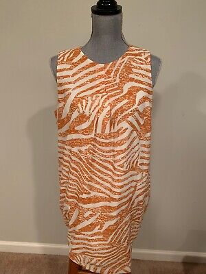 H&M dusky Orange White Silky Size 12 NWOT Sleeveless Summer lined Tea Dress, Fun