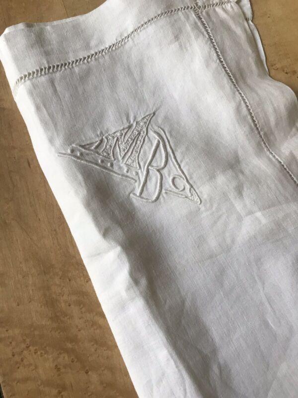 "High Quality Antique French Linen Pillowcase With Monogram ""M.B"" - Read Descrip!"