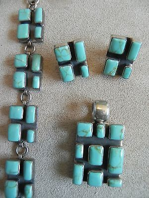 Turquoise & Sterling Silver .925 Earrings, Pendant & Bracelet SET Taxco Mexico