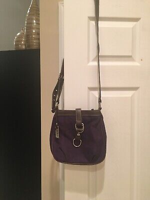 NEW CHAPS RALPH LAUREN Crossbody PURPLE AND BROWN LEATHER Purse Very (Purple And Brown)