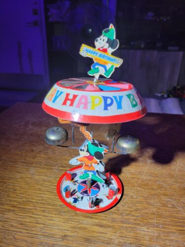 Vtg Tin Litho Disney Mickey Mouse Birthday Candle Spinning Bell Cake Topper