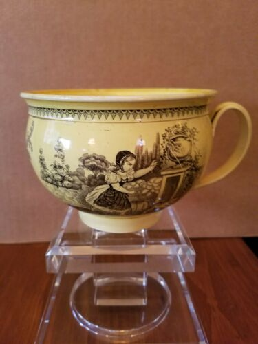 CREIL - LARGE 19TH CENTURY POTTERY BOWL SHAPED COFFEE CUP