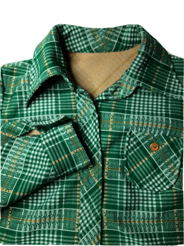 Vtg Green Plaid Polyester Blazer Leisure Suit Jacket Retro Men Handmade 36?