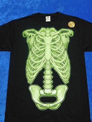 Skeleton Bones Halloween T-Shirt Glows In The Dark S-3XL