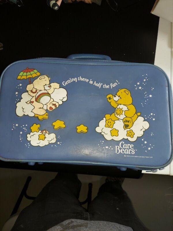 Vintage 1983 Care Bears Blue Vinyl Youth Suitcase Luggage American Greetings