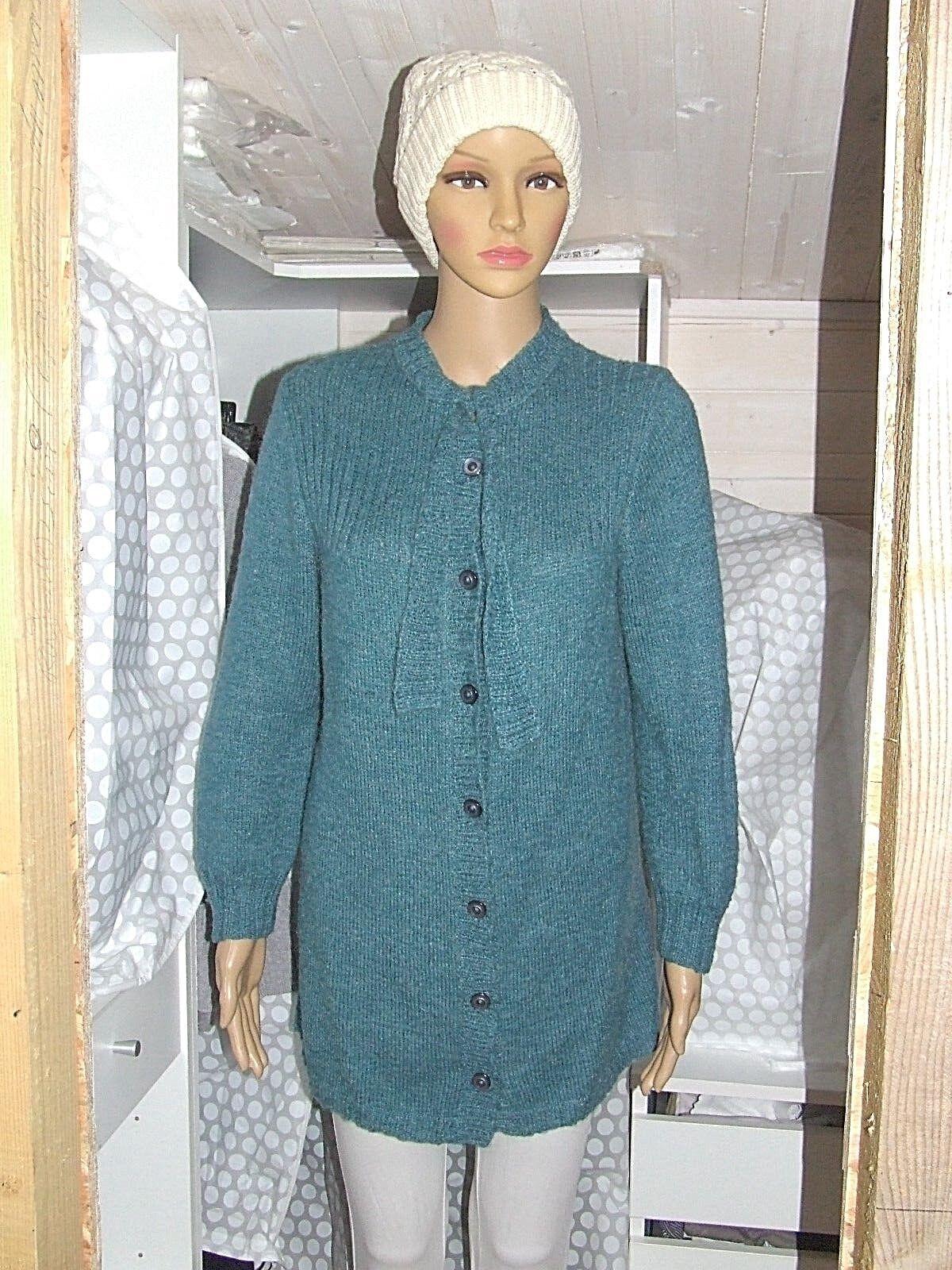 Superbe gilet / pull long  tricoté main phildar laine mohair t 38 parfait état