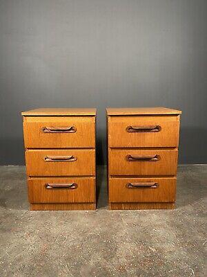 Pair Of Teak Veneer G Plan Style Bed Side Cabinets