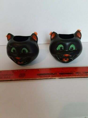 2 Old Vintage Halloween Fun World Plastic Black Cat Bat Candy Containers Holders