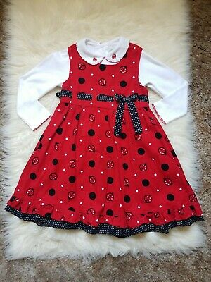 Rare Editions 2 Piece Sz 5 Girls Red Corduroy Ladybug Jumper Dress Polka Dot Bow