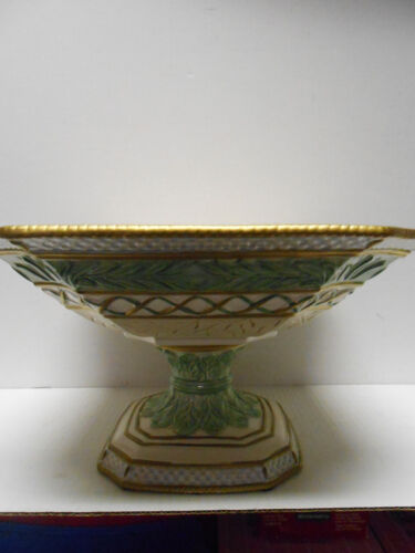 Fitz & Floyd Classics Gregorian  Series Centerpiece Pedestal Green Bowl large