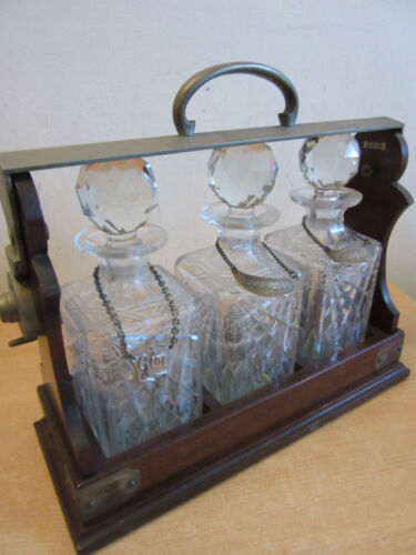 Antique Mappin & Webb TANTALUS With 3 crystal DECANTERS, Sterling liquor badges