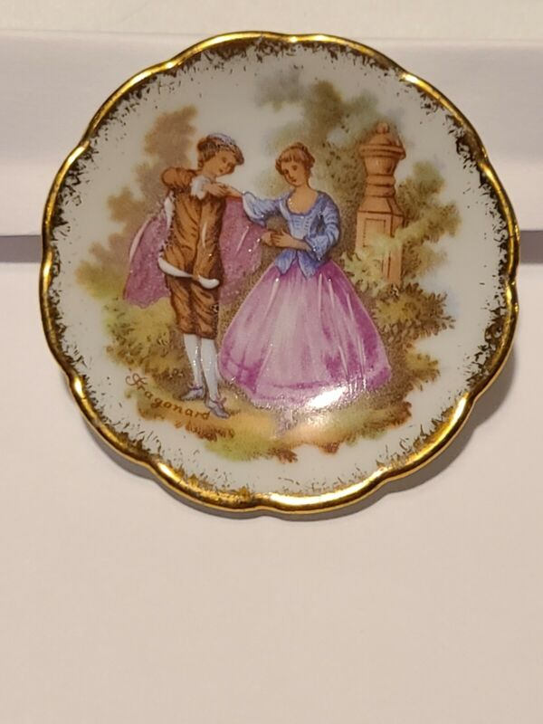 R P Limoges Butter Pat Small Dish Courting Couple
