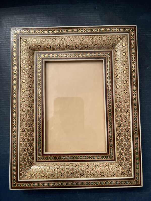 Vintage Frame Persian Micro Mosaic Khatam Kari, Shell, Wood