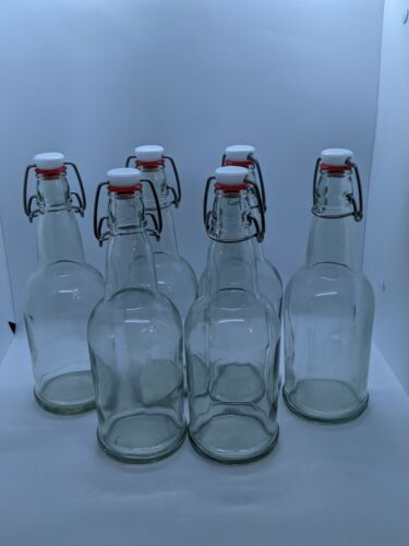 Clear Glass Bottles with Flip-Top Metal Clasps, 18 oz. set of 6