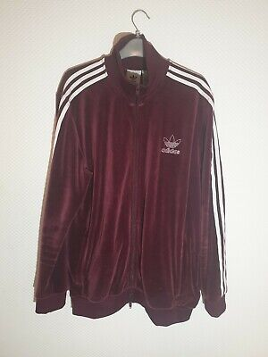 adidas Beckenbauer Maroon Velour Track Top Size Large