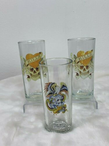Set of 3 ED HARDY Eagle & Skulls Tattoo Pint Tall 16oz Collectible Drink Glasses