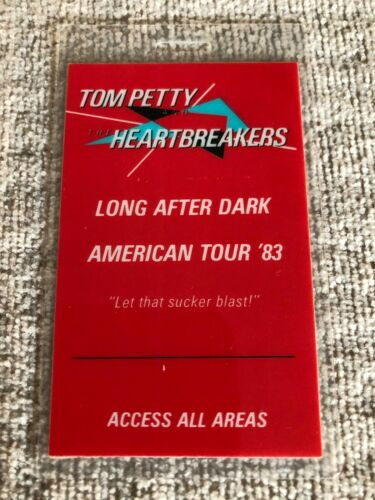 Tom Petty Backstage Pass 1983 Long After Dark American Tour - Very Rare Laminate