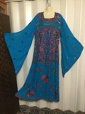 Fancy embroidered CAFTAN dress gown ABAYA jalabiah chiffon Indian boho اليشمك