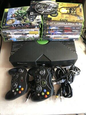 Original Xbox Console Tested Microsoft 14 Game Bundle 2 Controllers Halo S1