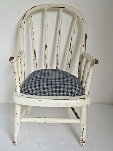Antique American Childs Potty Chair Old White Paint and Homespun Seat