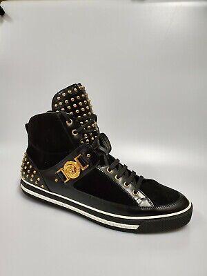 Versace New Mens Black Leather Suede Medusa Hi-Top Sneakers 13 (46)