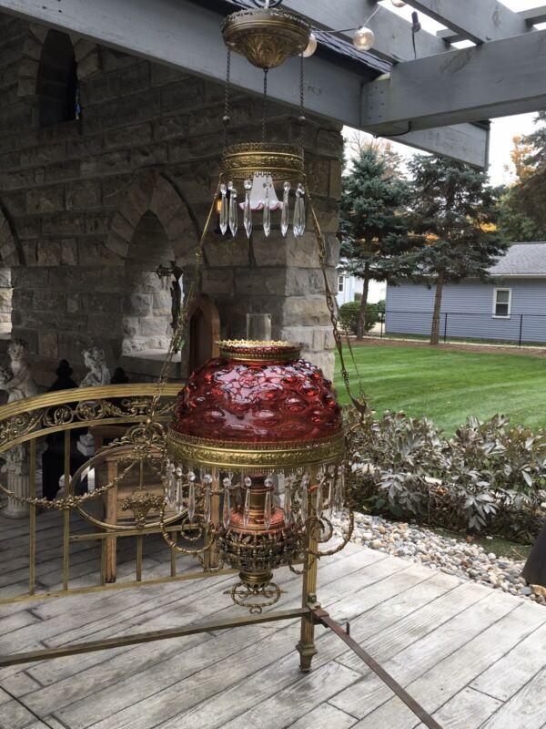 ANTIQUE RARE BRADLEY & HUBBARD HANGING LIBRARY KEROSENE OIL LAMP BAMBOO PATTERN