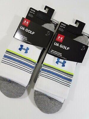 Under Armour Golf Socks Mid Crew White Blue Stripes Large 2 pair