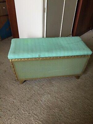Vintage Original GREEN Loom Storage Blanket Box Lloyd Double Seat Stool  13/1/G