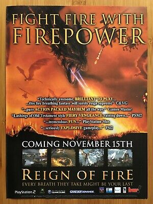 Reign of Fire Xbox PS2 GCN 2002 Vintage Print Ad/Poster Official Dragon Art UK