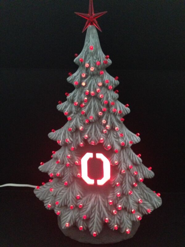 Lighted Ohio State Ceramic Tree