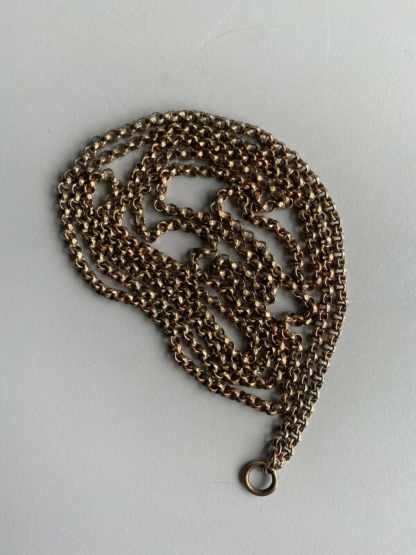 """Antique Victorian Rolled Rose Gold Guard Muff Chain 52"""" 44.3g"""