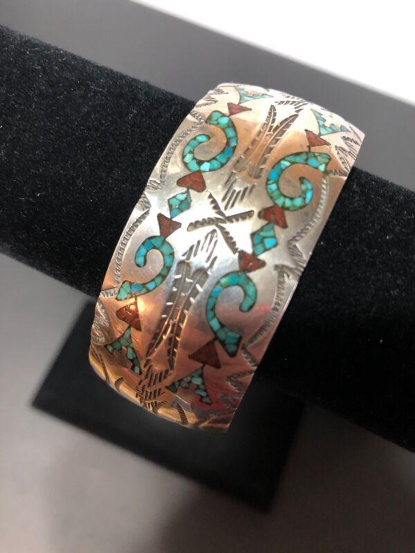 Vintage JY Jimmy Yazzie ? Cuff Bracelet Inlay Turquoise Sterling Handmade Navajo