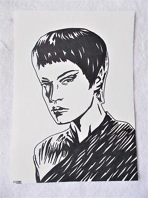 A4 Art Marker Pen Sketch Drawing Jolene Blalock as T'Pol from Star Trek Poster